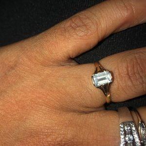 Aqua emerald cut solid gold ring 5
